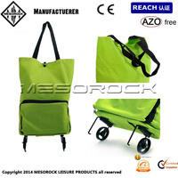 NEW Foldable Trolley Bag Wheels Folding Travel Luggage Suitcase Fits in Handbag Portable Shopping Bag