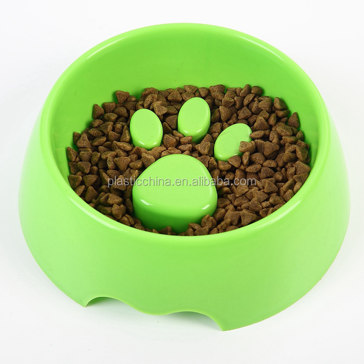 Китай оптовая продажа собачья миска поставщик оптом пластиковая дешевая еда кормление лапа печать медленная собака Кормушка для еды