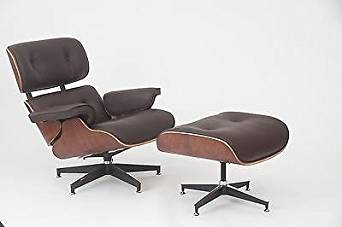 Get Quotations · Eames Style Walnut Lounge Chair And Ottoman Set In Brown  Top Grain Leather