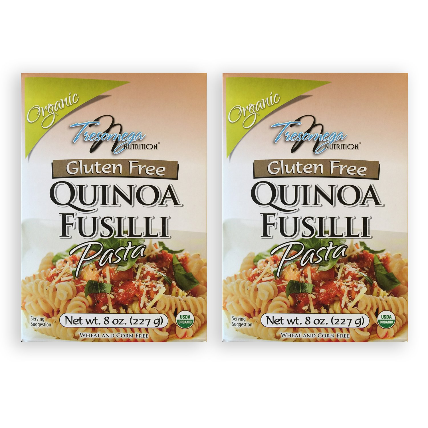 TresOmega Nutrition–Organic Quinoa Fusilli Pasta–Made with Organic Quinoa, Rice & Amaranth for A Meal High in Protein & Fiber– 2, 8 oz. Boxes