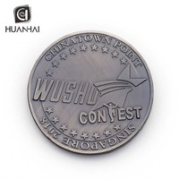 Huanhai factory custom hydraulic metal 3D buildings logo plated antique silver chinese coin