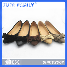 Colorful micro fiber pointed toe lady flat shoes