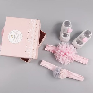 Hot selling 3Pcs Kids cute fancy baby hairbands flower Bowknot Elastic bands with cute socks set for baby girls