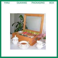 LARGE Fancy Tea Bag Chest Cabinet / Tea Bag Storage Box, Solid Wood, Oak Finish