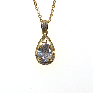 Hot Selling Copper Fashion Jewelry Simple Design Zircon Necklace For Women