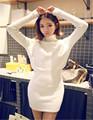 Women Autumn Winter Dresses Warm Sweater Knitting Dress Turtleneck Long Sleeve Slim Work Wear Knitted Office