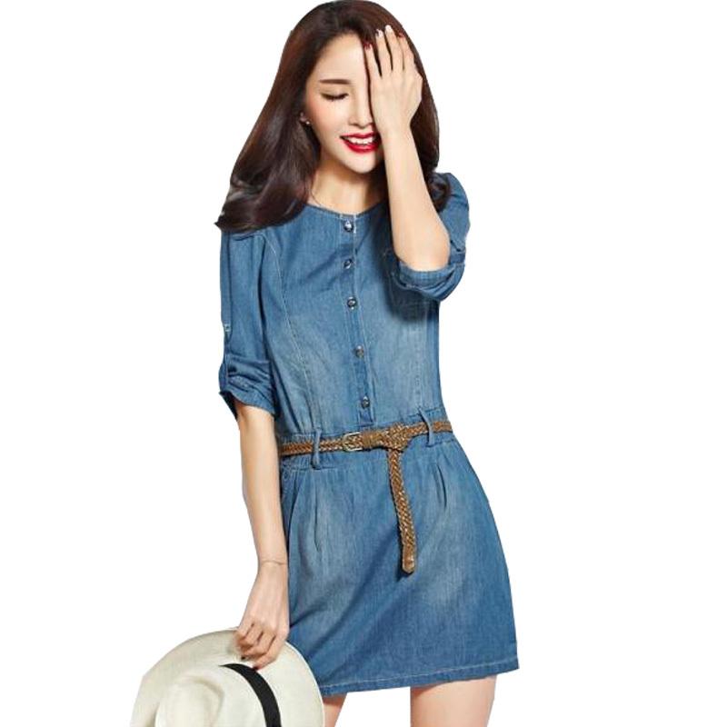 f8f2dd131398 Get Quotations · Women Casual Denim Dress Girl Slim Clothing Dresses Loose  Leisure Jeans Dresses Plus Size Women Summer