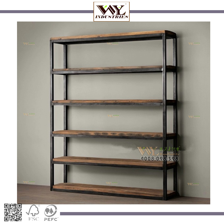Living Room Furniture Iron Wood Bookcase/<strong>Shelf</strong>