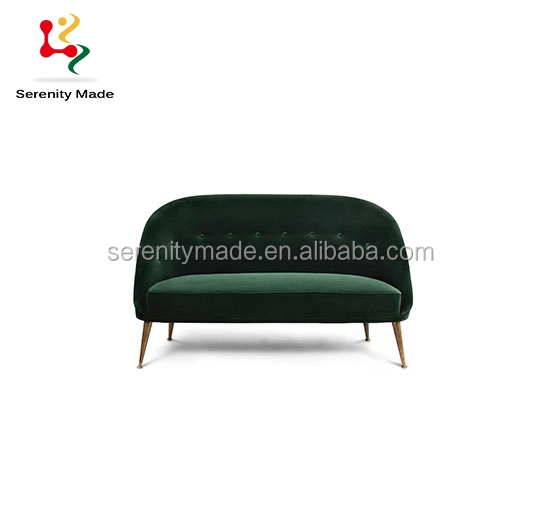 High end european two seater velvet couch sofa with brass gold metal legs