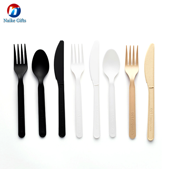 Eco friendly disposable compostable plastic fork knife spoon portable PLA cutlery set