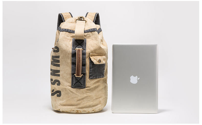 2019 New Khaki Chemical Washed Canvas Roll Top Closed Hiking Backpack