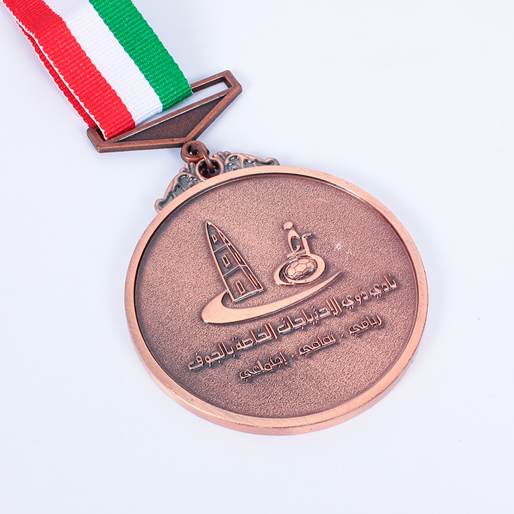 Custom cheap price embossed logo antique brass sports metal soccer award medals