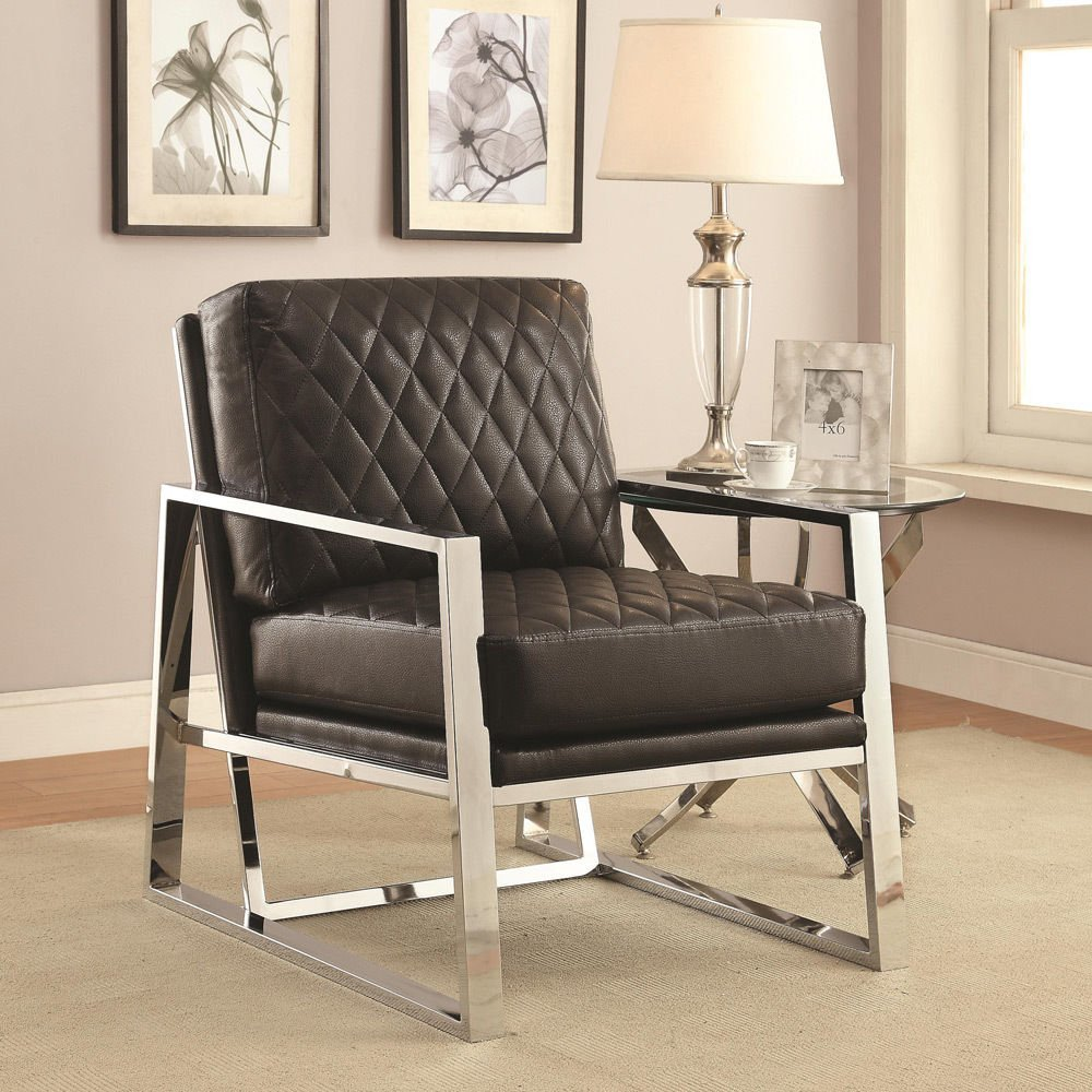 Miraculous 1Perfectchoice Modern Accent Chair Padded Leatherette Seating Back Chrome Metal Armrest Base Color Black Onthecornerstone Fun Painted Chair Ideas Images Onthecornerstoneorg