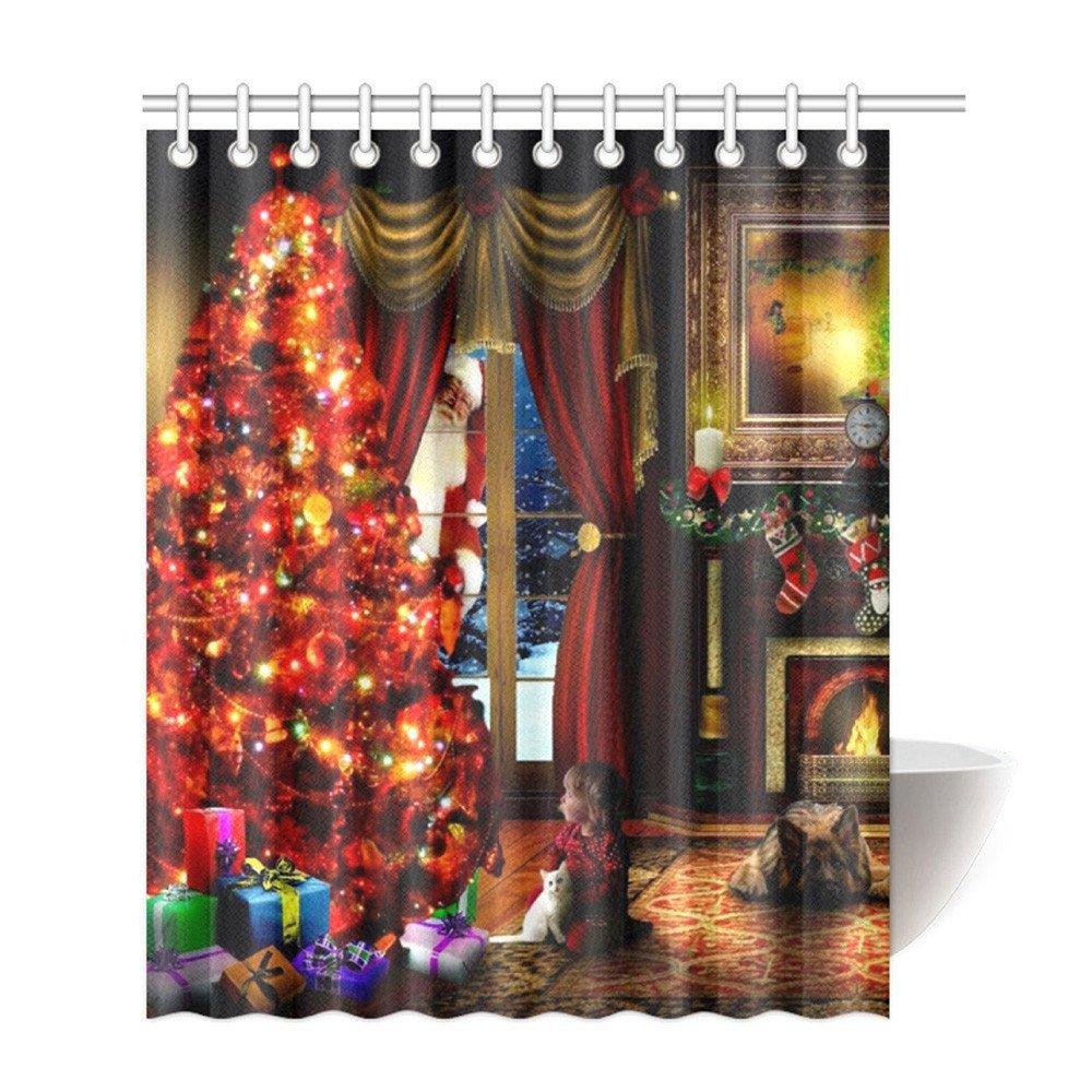 "Shower Curtain Liner GOTD Gifts under Christmas Tree Santa Girl Dog Cat Stocking Custom Merry Christmas Fabric Waterproof Bathroom Shower Curtain 66"" x 72"" (Red)"
