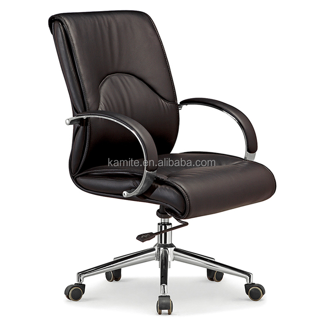 Genuine leather club office chair with black legs