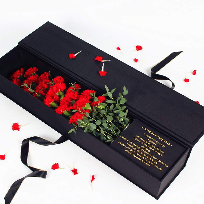 Single rose box for flowers gift romantic single rose cone paper box with hot stamping logo acrylic rose box wholesale