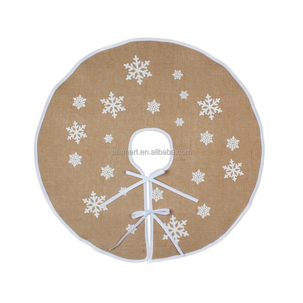 "Jute Burlap Christmas Tree Skirt 30 "" Xmas Tree Decor Skirts New Year Holiday Decoration With White Snowflakes"