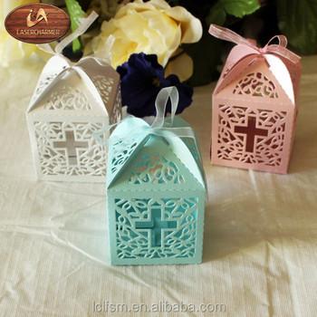 Cross Laser Cut Pinkblue White Wedding Bridal Favor Box