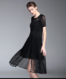 Black pleat hi lo design smock waisted short sleeve summer adult dresses