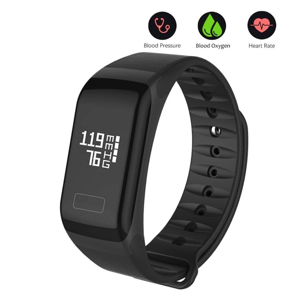 Fitness Tracker, Smart Bracele Smart Watch Waterproof Pedometer Activity Tracker Heart Rate Monitor, Blood Pressure Blood Oxygen Monitor Bluetooth 4.0 iOS Android