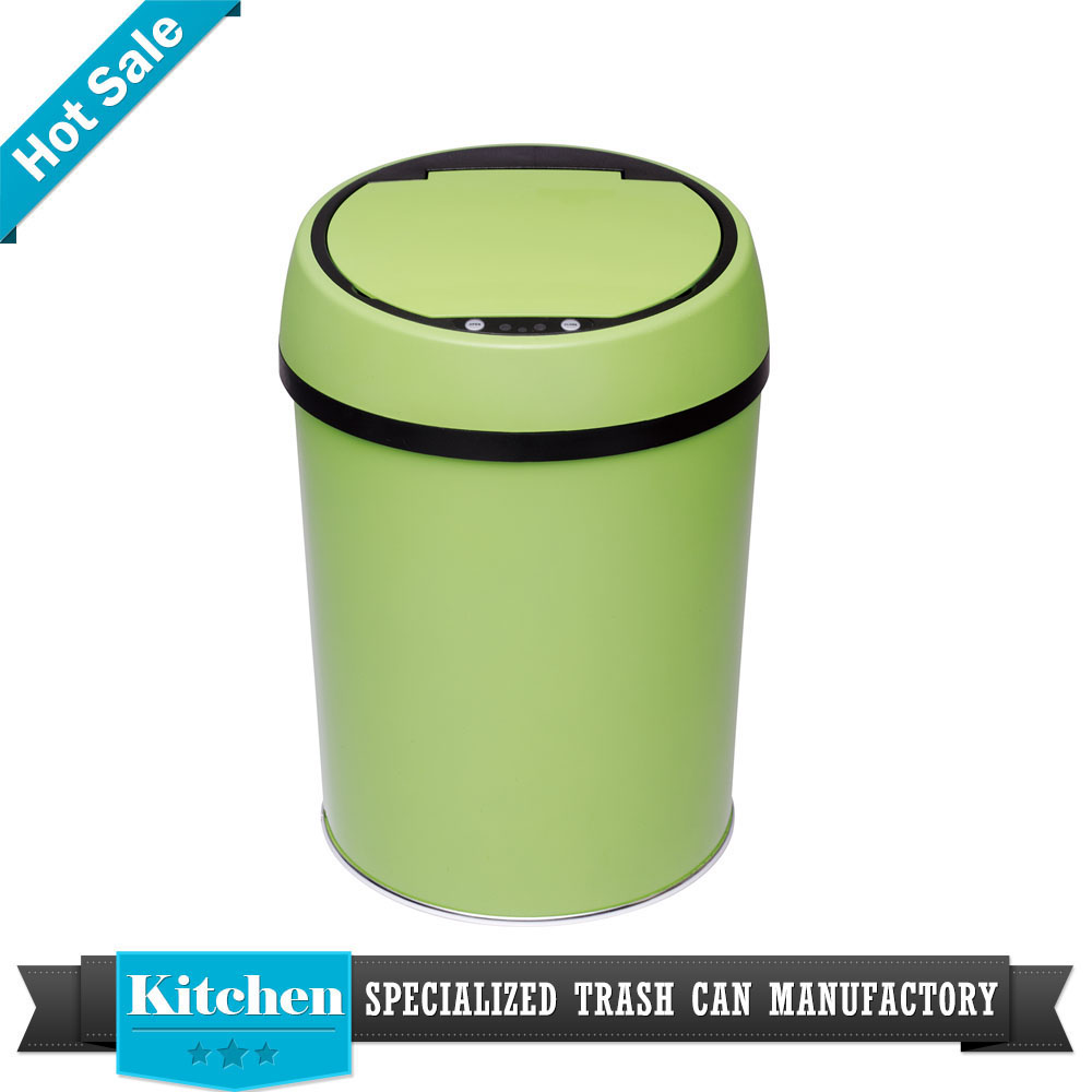 eco-friendly products wood touchless recycling bin kitchen