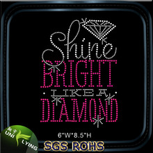 Shine Bright Like A Diamond Customized Rhinestone Hot Fix Transfer