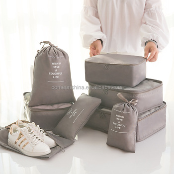 8 set Travel Luggage Packing Organizers With Shoes Laundry Bag