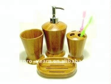 4pcs Bamboo Bathroom Sanitary Accessories Ware