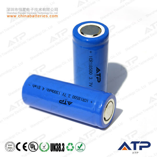3.7v 1300mah 18500 li ion battery packs / icr18500 li-ion rechargeable battery 1300mah 3.7v / li-ion icr18500