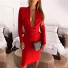 Sexy Women Long Sleeve Midi Bandage Dress Bodycon Red Elasticity Dresses 2019