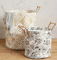 Fashion design cotton linen sewing bucket storage with fabric lining with handles Watercolor Hamper Tote