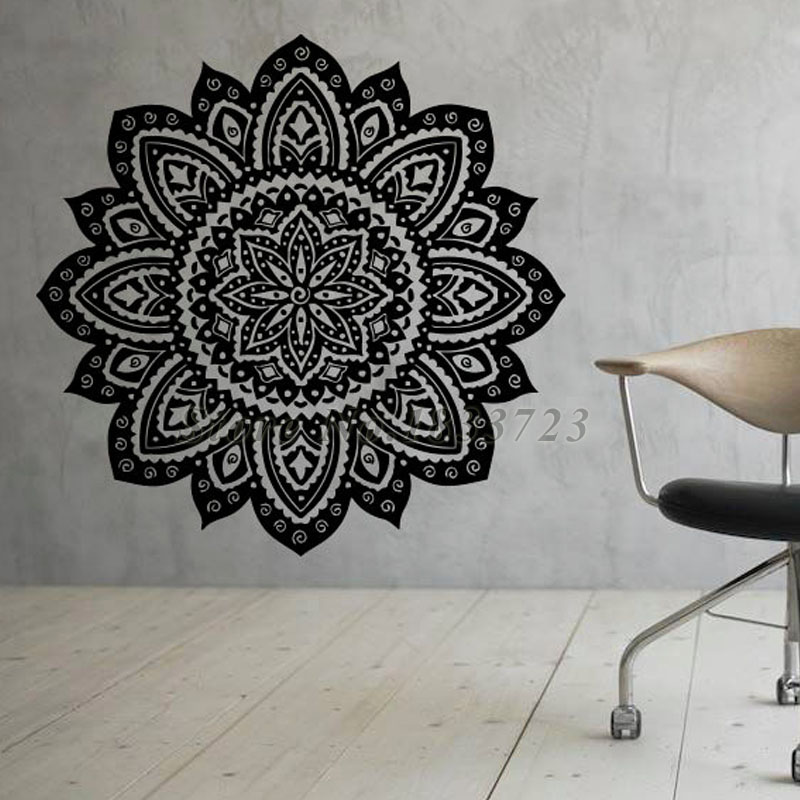 Living Room Wall Decals Mandalas Wall Stickers Home Decor Indian Lotus Flowers Pattern Hot Selling