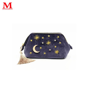 fcec7268e7 2019 new design cosmetic pouch embroidery logo bag plush make up pouch
