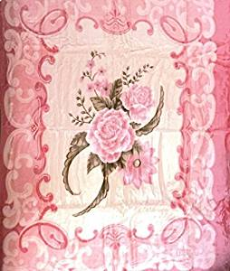 Vivalon Pink Roses (BM127) Thick Mink Plush Korean Style Queen Size Blanket - By Solaron