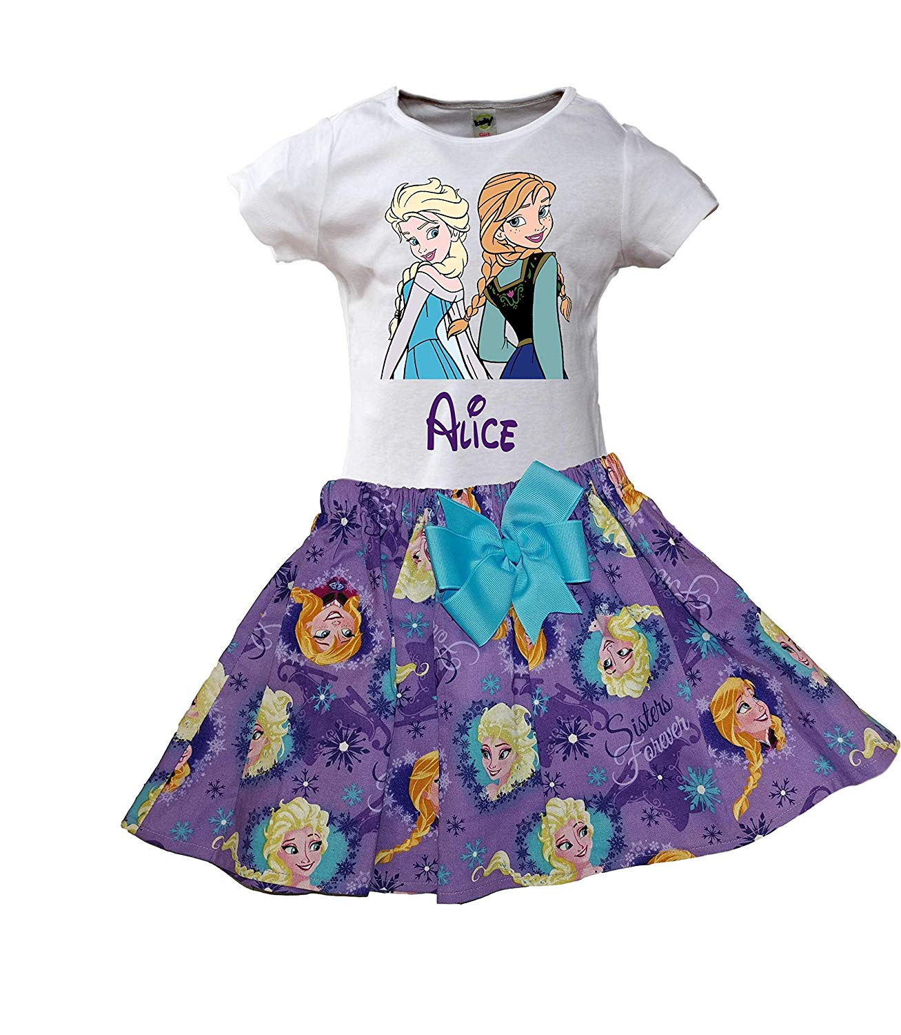 Get Quotations Girl Elsa Anna Birthday Outfit Frozen Name Age Dress