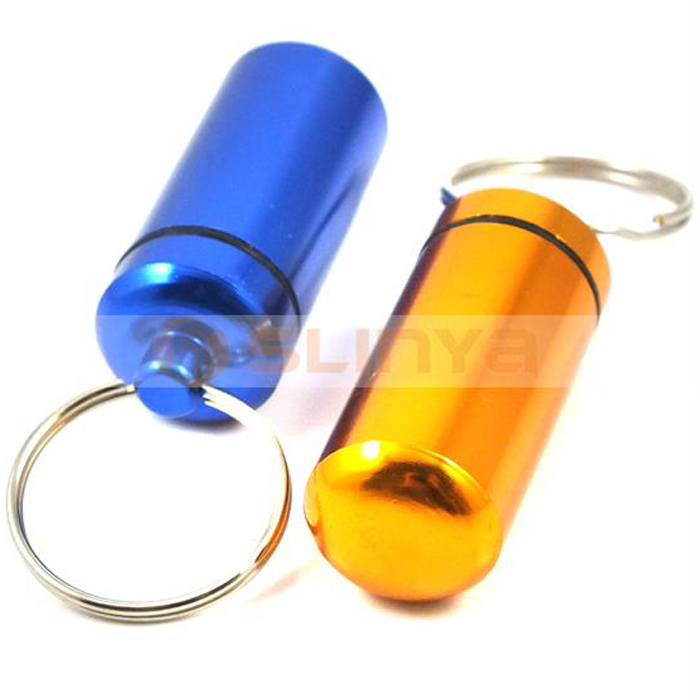 Mini Key Chain Outdoor Travel Aluminum Portable Patient Medical Pill Box