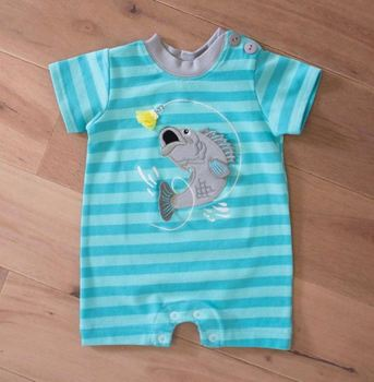Clothing Manufacturers Overseas Baby Blue Stripe Fishing One Piece Baby Romper