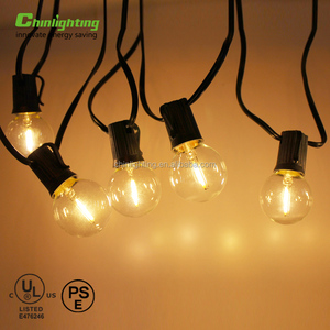 5.5m 18.3 Ft Clear glass g40 ul cul string led light, 360 beam angle led lamp string