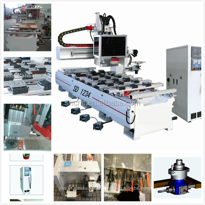 JINAN SUDIAO High technology cnc mills with side sawing drilling / ATC single arm art and craft cnc router