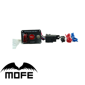 Mofe Ignition Switch Panel DC12V LED Carbon Fiber Toggle Engine Start Push Button 12V Power Toggle Switch for Car Truck Racing