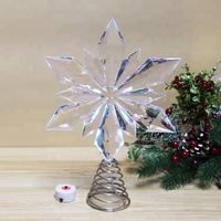 Wholesale Acrylic Ornament Snowflake Tree Topper with Color Changing LED