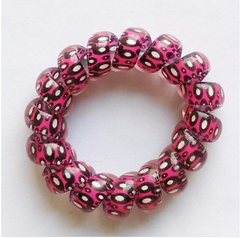 Plastic Spiral Telephone Wire Hair Ties Box Elastic Bands
