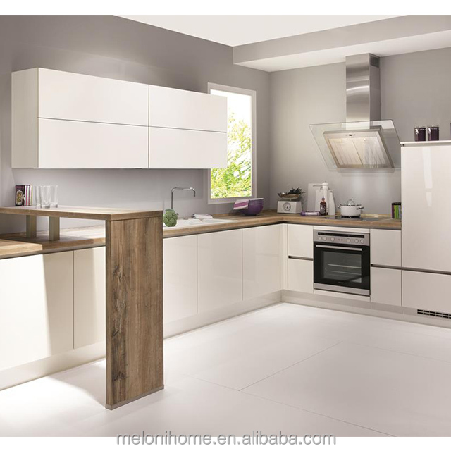 Simple L Shape With Invisible Handle Marble Top Kitchen Cabinet