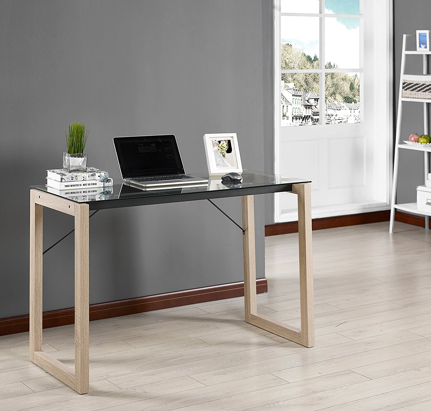 b02be337d99 Get Quotations · Kings Brand Black Tempered Glass   Natural Wood Home  Office Computer Desk