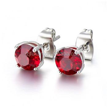 Fancy Zodiac Birthstones Cancer Ruby Cubic Zirconia Stud Earrings