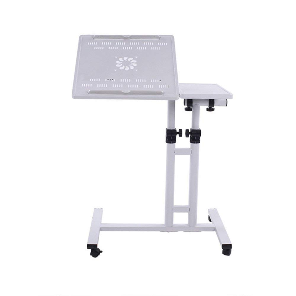 Tables ZR- Computer Desk Bed Desk Bedside It Can Move Can Lift Office Learn Household Simple And Modern (Color : White)