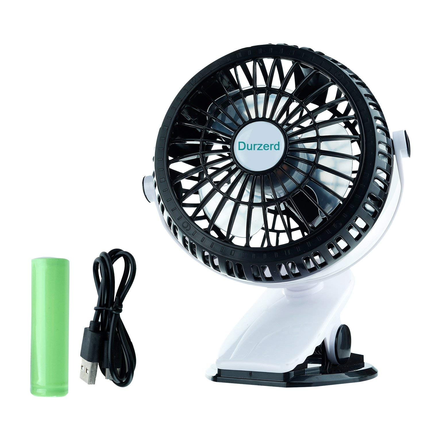Durzerd Rechargeable Battery Operated Clip on Fan, Mini Desk USB Fan, Personal Portable Fan with 3 Speeds, 2200mAh Battery, 360 degree Rotation, For Baby Stroller, Outdoor, Camping - Black