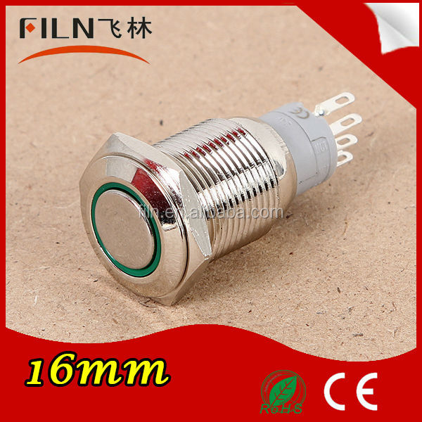 LED round illuminated 5 pin 16mm stainless steel selector 240v push button switch