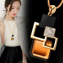 European and American fashion Golden Hollow Geometric Big Stone Pendant Necklace Crystal Fine jewellery for women personality