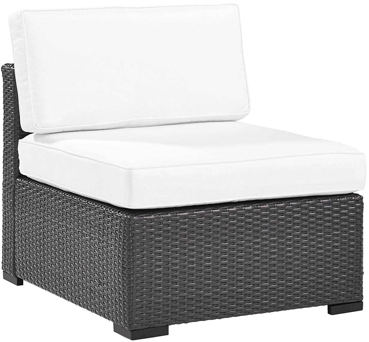 Crosley Furniture KO70125BR-WH Biscayne Outdoor Wicker Armless Chair Cushions, White